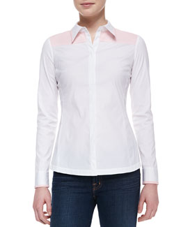 Lafayette 148 New York Karlyn Long-Sleeve Blouse, White-Blush