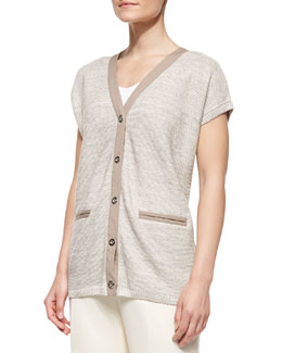 Lafayette 148 New York Short-Sleeve Linen Cardigan Sweater