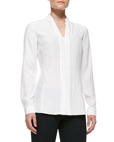 Lafayette 148 New York Silk Placket Blouse With Bar Tacking, Cloud