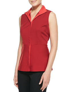 Lafayette 148 New York Stretch-Cotton Sleeveless Blouse With Contrast Collar, Snapdragon