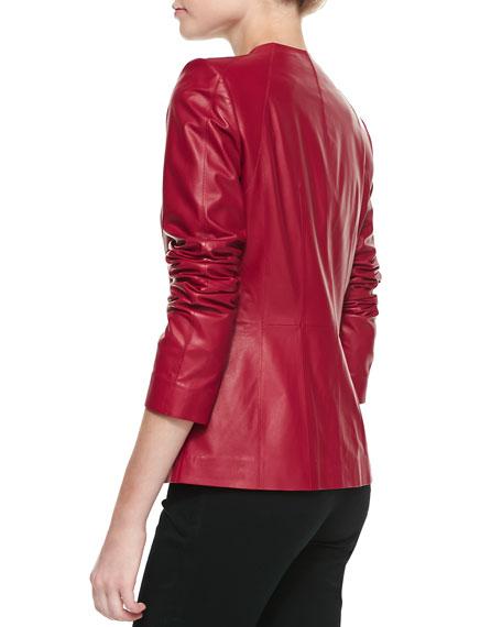 Zip Leather Jacket, Snapdragon