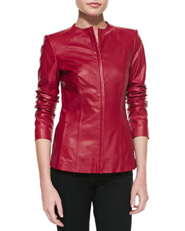 Lafayette 148 New York Zip Leather Jacket, Snapdragon
