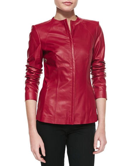Zip Leather Jacket, Snapdragon
