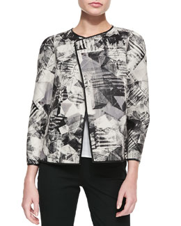 Lafayette 148 New York Tiana Graphic Topper Jacket, Black/Multi