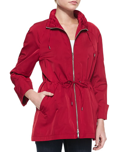 Lafayette 148 New York Brandy Zip Front Topper Jacket With Drawstring Waist, Snapdragon
