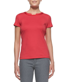 Lafayette 148 New York Short-Sleeve Scoop-Neck Tee With Charmeuse Trim, Dynamite