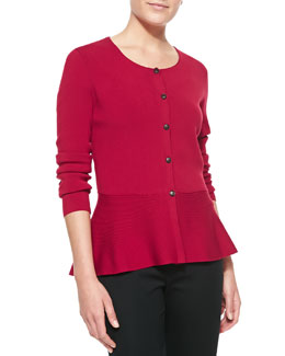Lafayette 148 New York Long-Sleeve Cardigan With Crepe Peplum, Snapdragon