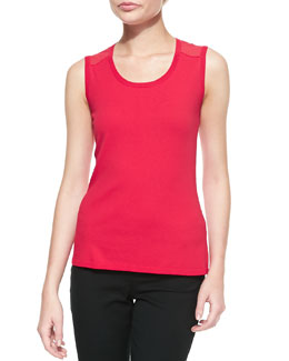 Lafayette 148 New York Scoop-Neck Shell With Georgette Mesh Accent, Snapdragon