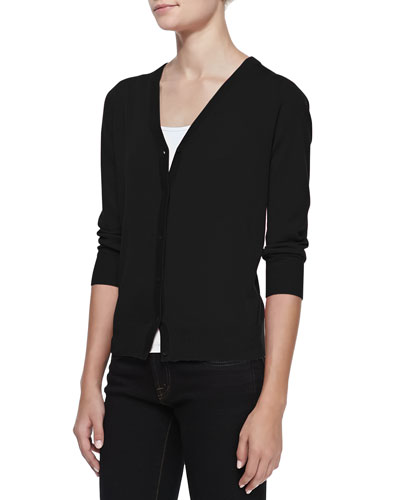 Neiman Marcus 3/4-Sleeve V-Neck Cardigan, Black