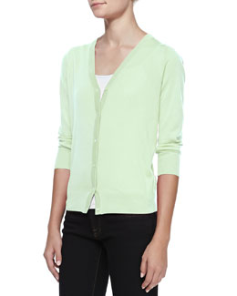 Neiman Marcus 3/4-Sleeve V-Neck Cardigan, Mint