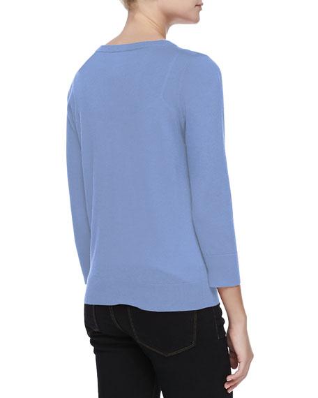3/4-Sleeve V-Neck Cardigan, Blue