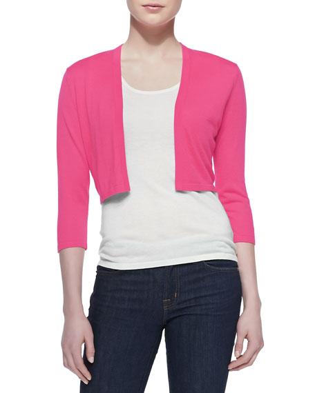 3/4-Sleeve Silk-Cashmere Shrug, Pink