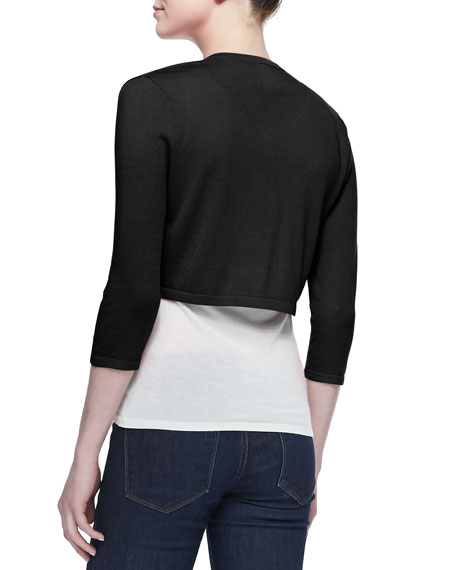 3/4-Sleeve Silk-Cashmere Shrug, Black