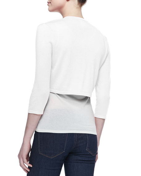3/4-Sleeve Silk-Cashmere Shrug, White