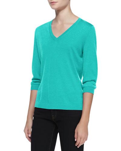 Neiman Marcus V-Neck Silk-Cashmere Top, Jade