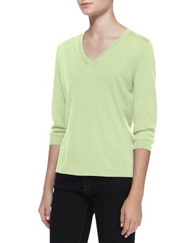 Neiman Marcus V-Neck Silk-Cashmere Top, Mint