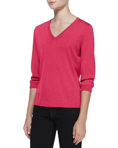 Neiman Marcus V-Neck Silk-Cashmere Top, Shocking Pink