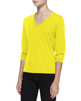 Neiman Marcus V-Neck Silk-Cashmere Top, Yellow