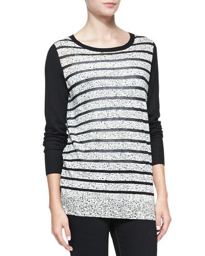 Neiman Marcus Printed Sheer-Stripe Top
