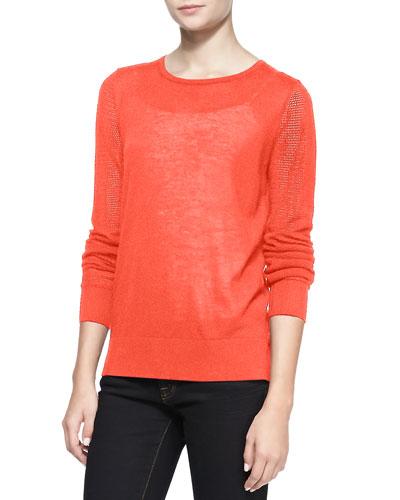 Neiman Marcus Pique Stitch Silk-Cashmere Top, Coral Reef