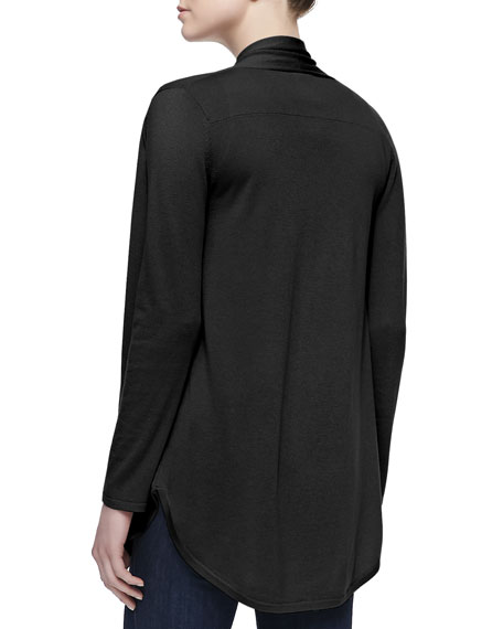 Draped Shirttail Silk-Cashmere Cardigan, Black