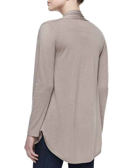 Draped Shirttail Silk-Cashmere Cardigan, Taupe