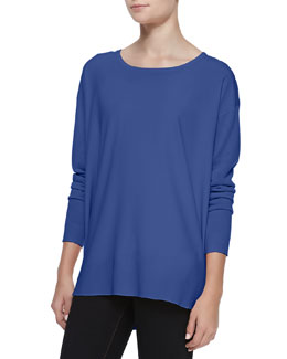 Neiman Marcus Silk-Front Long-Sleeve Tunic, Denim