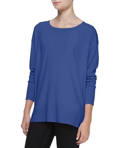 Neiman Marcus Silk-Front Long-Sleeve Tunic, Denim