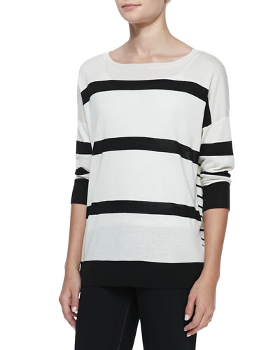 Neiman Marcus Mixed Striped Silk-Cashmere Top, White/Black