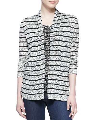 Neiman Marcus Printed Cashmere-Blend Sheer Open Cardigan
