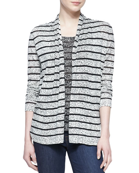 Printed Cashmere-Blend Sheer Open Cardigan