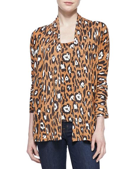 Leopard-Print Open Cardigan