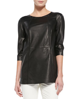 Lafayette 148 New York Tissue-Weight Leather Top