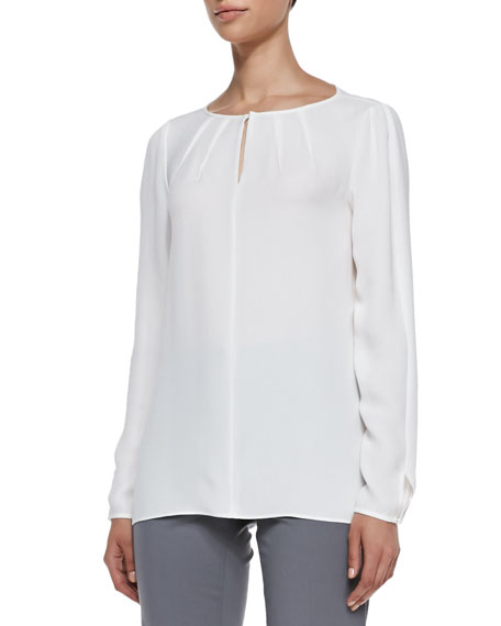 Lafayette 148 New York Pattie Long-Sleeve Silk Blouse,