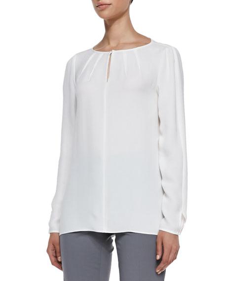 Lafayette 148 New York Pattie Long-Sleeve Silk Blouse,