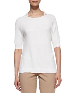 Lafayette 148 New York Cashmere Half-Sleeve Top, Cloud