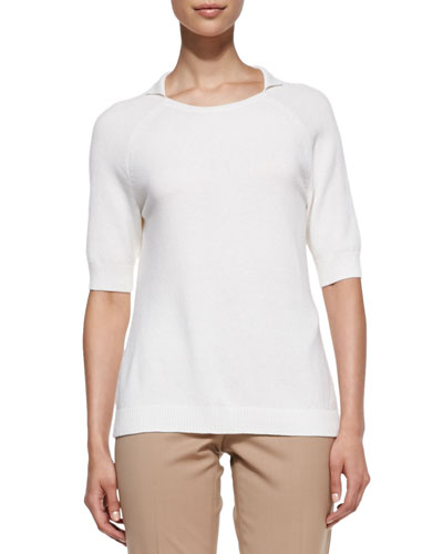 Lafayette 148 New York Cashmere Half-Sleeve Top, Cloud