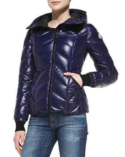 Moncler Badette Knit-Trim Puffer Coat