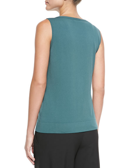 Crepe Scoop-Neck Tank, Hemlock