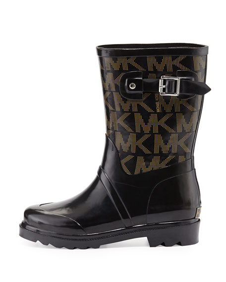 Short Logo Rain Boot, Black