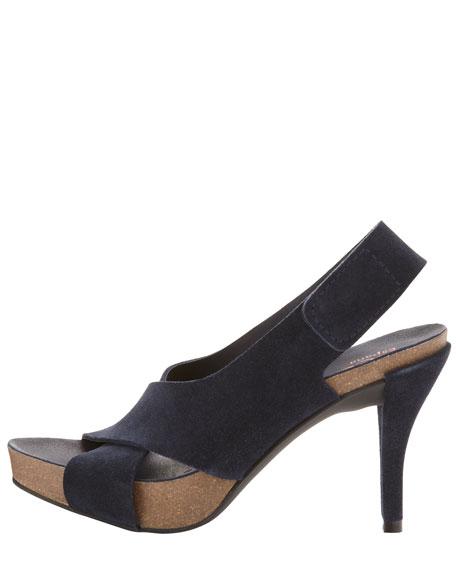 Libby Mid-Heel Crisscross Suede Sandal