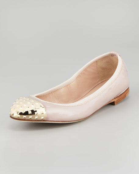 Rockstud Cap-Toe Ballerina Flat
