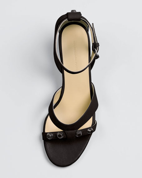Arena Leather Wedge Sandal, Black