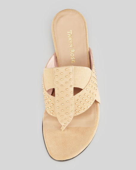 Shonda Suede Low-Wedge Thong Sandal, Beige