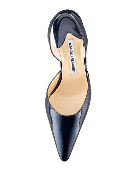 Carolyne Patent Low-Heel Halter Pump, Navy