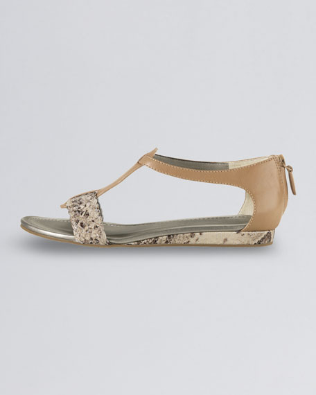 Jaycee Low-Wedge Snake-Print Sandal, Sandalwood