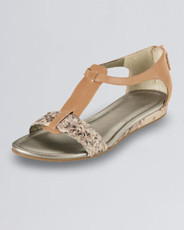 Cole Haan Jaycee Low-Wedge Snake-Print Sandal, Sandalwood
