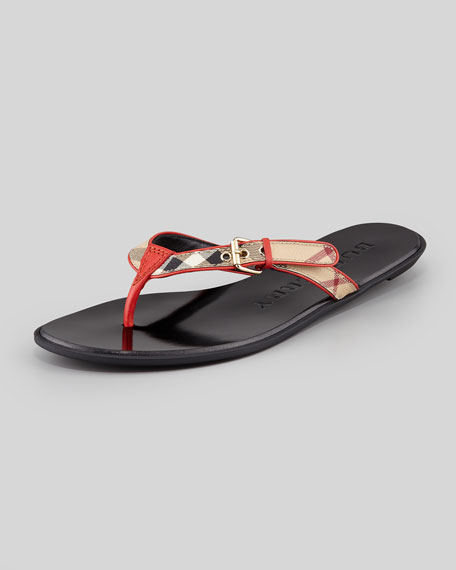 Check Leather Flip-Flop, Cadmium Red