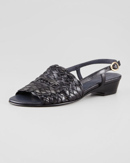 Guenna Woven Leather Slingback Sandal, Black