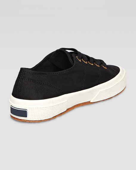 Low-Top Faille Lace-Up Sneaker, Black